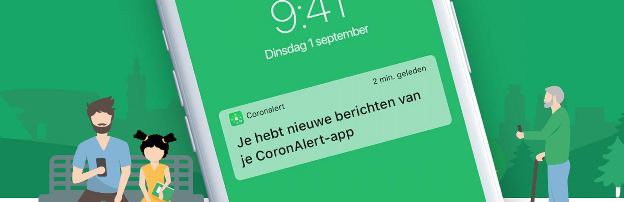 Coronalert app met notificatie