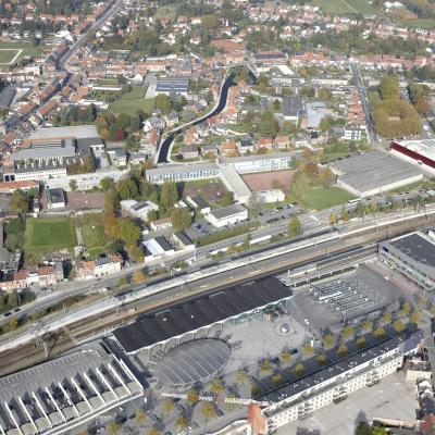 Luchtfoto stationsomgeving Sint-Niklaas